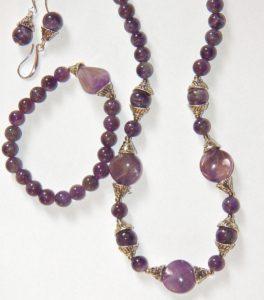 Amethyst-Earrings-Bracelet-Necklace-Jewelry Set